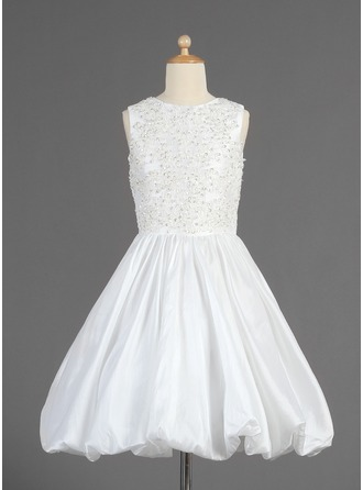 A-Line/Princess Scoop Neck Tea-Length Taffeta Flower Girl Dress With Ruffle Lace Beading Sequins
