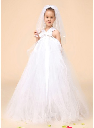 A-Line/Princess V-neck Floor-Length Tulle Flower Girl Dress With Bow(s)