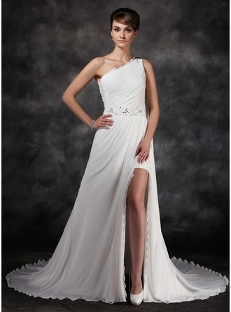 A-Line/Princess One-Shoulder Chapel Train Chiffon Evening Dress With Ruffle Beading Split Front
