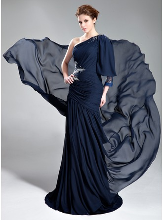 A-Line/Princess One-Shoulder Court Train Chiffon Lace Evening Dress With Ruffle Beading