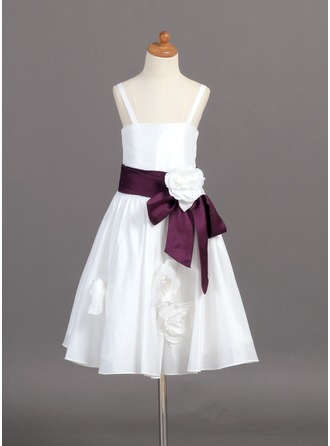 A-Line/Princess Taffeta First Communion Dresses With Sash/Flower(s)