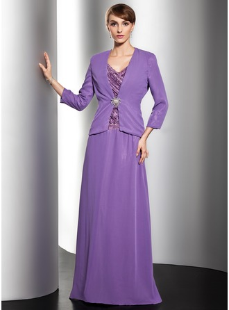 A-Line/Princess V-neck Floor-Length Chiffon Charmeuse Mother of the Bride Dress With Ruffle Beading Sequins