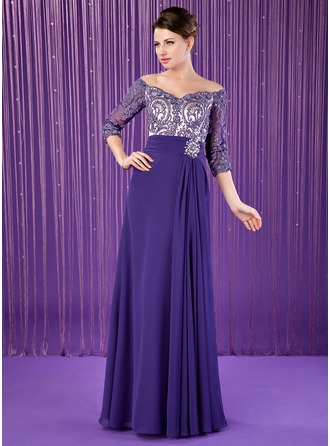 A-Line/Princess Off-the-Shoulder Floor-Length Chiffon Mother of the Bride Dress With Ruffle Lace Beading