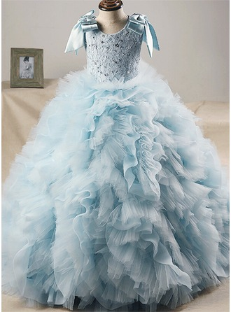 Ball Gown Sweep Train Flower Girl Dress - Tulle/Lace Short Sleeves Jewel With Sequins/Bow(s)