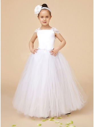 A-Line/Princess Square Neckline Floor-Length Charmeuse Tulle Flower Girl Dress With Ruffle