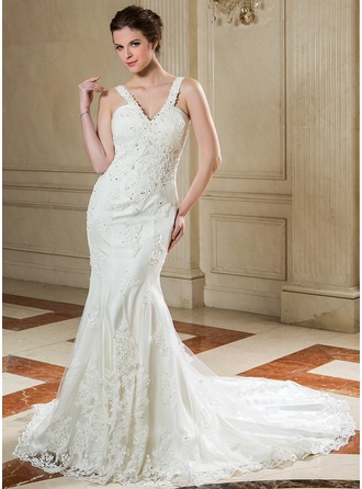 Trumpet/Mermaid V-neck Court Train Organza Wedding Dress With Ruffle Beading Appliques Lace Sequins