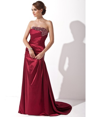 A-Line/Princess Strapless Sweep Train Charmeuse Mother of the Bride Dress With Ruffle Beading