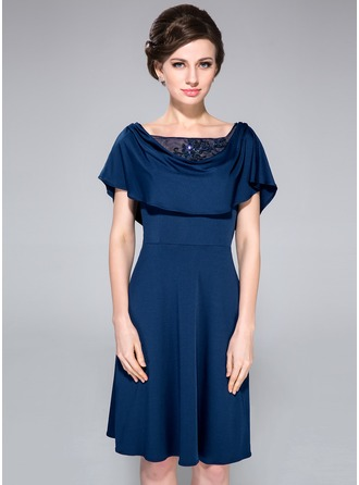 A-Line/Princess Cowl Neck Knee-Length Tulle Jersey Mother of the Bride Dress With Lace Beading Sequins Cascading Ruffles