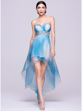 A-Line/Princess Sweetheart Asymmetrical Chiffon Holiday Dress With Beading Sequins