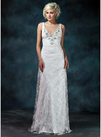 Sheath/Column V-neck Watteau Train Lace Wedding Dress With Ruffle Beading Bow(s)