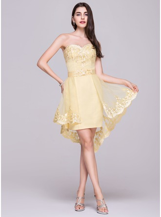 A-Line/Princess Sweetheart Asymmetrical Detachable Tulle Homecoming Dress With Appliques Lace