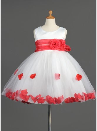 Empire Scoop Neck Knee-Length Organza Satin Tulle Flower Girl Dress With Ruffle Sash Flower(s) Bow(s)