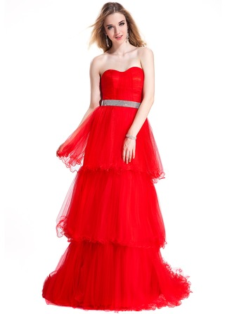 Empire Sweetheart Sweep Train Tulle Evening Dress With Ruffle Beading