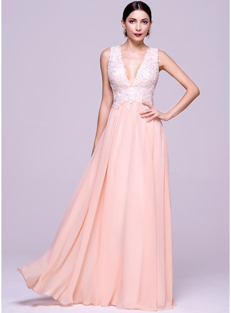 A-Line/Princess V-neck Floor-Length Chiffon Evening Dress With Beading Appliques Lace