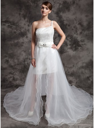 A-Line/Princess One-Shoulder Asymmetrical Organza Sequined Wedding Dress With Beading Bow(s)