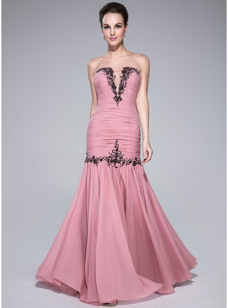 Trumpet/Mermaid Sweetheart Floor-Length Chiffon Prom Dress With Ruffle Beading Appliques Lace