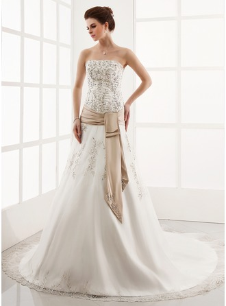 A-Line/Princess Strapless Cathedral Train Organza Satin Wedding Dress With Embroidery Lace Sash