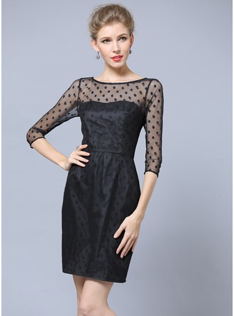 Polyester/Lace Above Knee Dress
