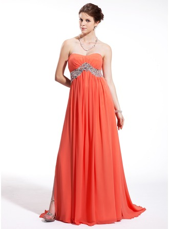 Empire Sweetheart Sweep Train Chiffon Tulle Holiday Dress With Beading Split Front