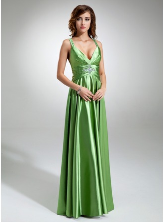 A-Line/Princess V-neck Floor-Length Charmeuse Holiday Dress With Ruffle Beading