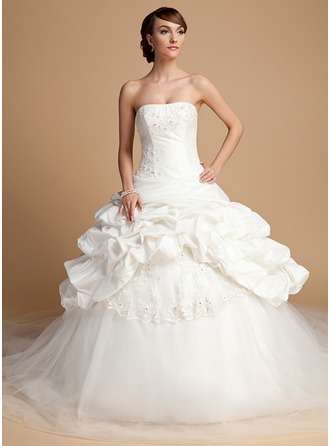 Ball-Gown Strapless Cathedral Train Taffeta Tulle Wedding Dress With Lace Sequins