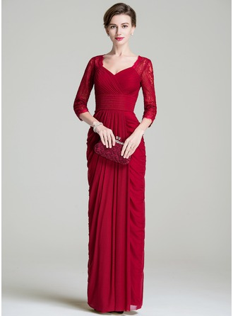 Sheath/Column Sweetheart Floor-Length Lace Jersey Mother of the Bride Dress With Ruffle