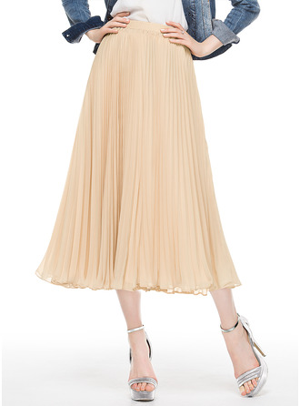 A-Line/Princess Tea-Length Chiffon Cocktail Dress With Pleated