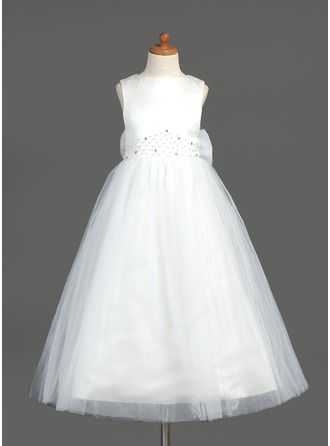 A-Line/Princess Scoop Neck Ankle-Length Organza Satin Tulle Flower Girl Dress With Beading Bow(s)