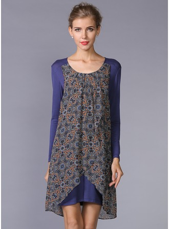 Cotton/Chiffon With Print Above Knee Dress