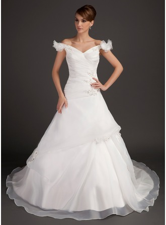 Ball-Gown Off-the-Shoulder Chapel Train Organza Satin Wedding Dress With Ruffle Beading Flower(s) Sequins