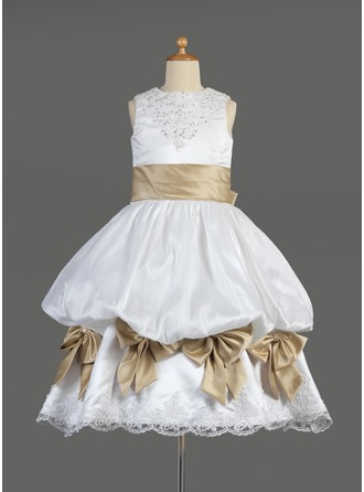 Empire Tea-length Flower Girl Dress - Satin Sleeveless Scoop Neck With Ruffles/Lace/Sash/Beading/Bow(s)/Pick Up Skirt