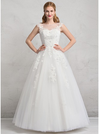 Ball-Gown Scoop Neck Floor-Length Tulle Wedding Dress With Lace Beading Appliques Lace Sequins