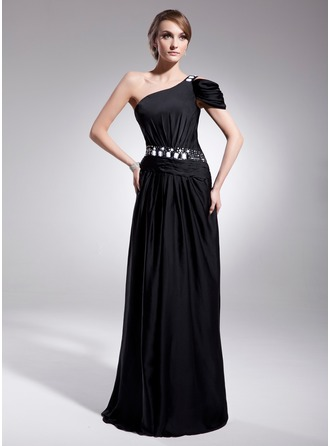 A-Line/Princess One-Shoulder Sweep Train Satin Chiffon Evening Dress With Ruffle Beading Sequins