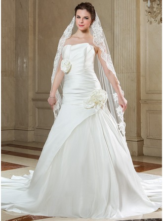 A-Line/Princess Scalloped Neck Chapel Train Satin Tulle Wedding Dress With Ruffle Flower(s)
