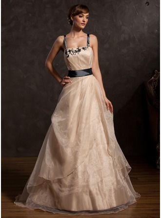 A-Line/Princess Floor-Length Taffeta Organza Prom Dress With Ruffle Sash Appliques Lace Bow(s)