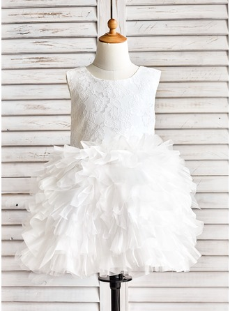 Ball Gown Knee-length Flower Girl Dress - Organza/Lace Sleeveless Scoop Neck With Ruffles