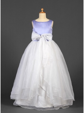 A-Line/Princess Scoop Neck Floor-Length Satin Organza Flower Girl Dress With Sash Bow(s)