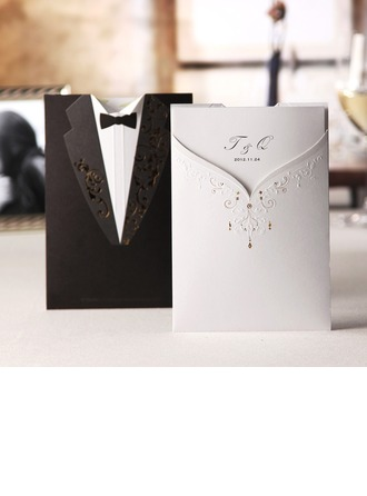 Personalized Bride & Groom Style Wrap & Pocket Invitation Cards