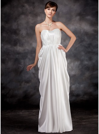 Empire Sweetheart Floor-Length Charmeuse Maternity Bridesmaid Dress With Ruffle
