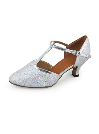 Women's Leatherette Sparkling Glitter Heels Pumps Modern Ballroom Wedding With T-Strap Dance Shoes