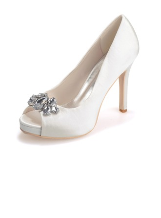 Women's Satin Stiletto Heel Peep Toe Platform Sandals With Crystal