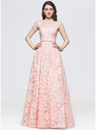 A-Line/Princess Sweetheart Floor-Length Lace Prom Dress With Beading Sequins