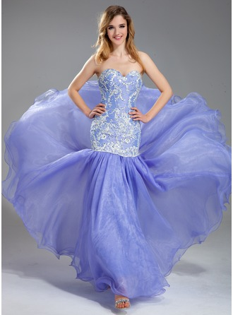 Trumpet/Mermaid Sweetheart Floor-Length Organza Charmeuse Lace Prom Dress With Beading Sequins