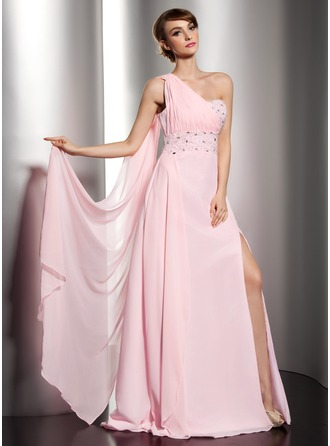 A-Line/Princess One-Shoulder Floor-Length Chiffon Holiday Dress With Ruffle Beading Split Front