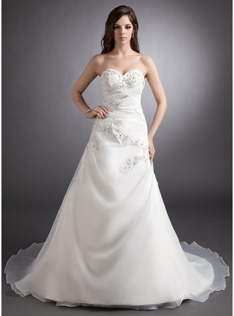 Ball-Gown Sweetheart Court Train Satin Organza Wedding Dress With Ruffle Beading Appliques Lace