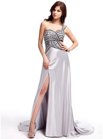 A-Line/Princess Sweetheart Watteau Train Charmeuse Evening Dress With Beading Sequins Split Front