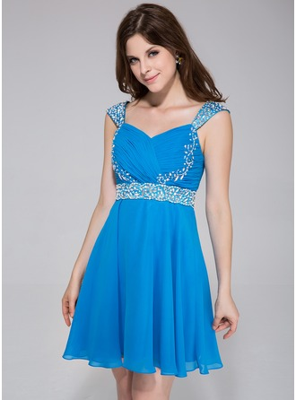 A-Line/Princess Sweetheart Short/Mini Chiffon Charmeuse Homecoming Dress With Ruffle Beading