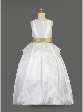 A-Line/Princess Scoop Neck Floor-Length Taffeta Flower Girl Dress With Sash Beading Bow(s) Cascading Ruffles