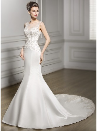 Trumpet/Mermaid Scoop Neck Chapel Train Satin Lace Wedding Dress With Beading Sequins
