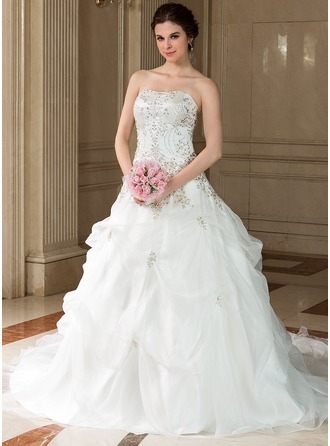 Ball-Gown Sweetheart Chapel Train Organza Satin Wedding Dress With Embroidery Beading Sequins